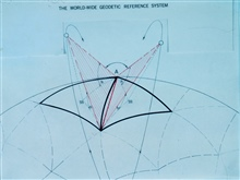 Diagram used to explain theory behind satellite triangulation program.