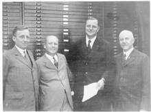 L-R - Fred E. Collins of the Carnegie Institution, E. B. Collins of U.S.Navy Hydrographic Office, Dr. F. A. Vening Meinesz of the Holland GeodeticCommission, and Willima Bowie chief of the C&GS; Division of Geodesy.Meinesz, Collins, and Wright were t