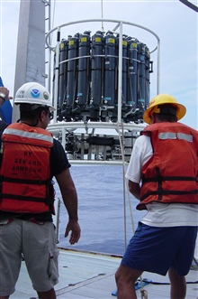 Deploying CTD and water sampler during Charleston Bump Expedition.