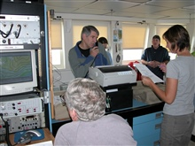 Gulf of Alaska Seamount Expedition. Dr. Tom Shirley from the University ofAlaska at Faibanks communicating from the plot room to the bridge.