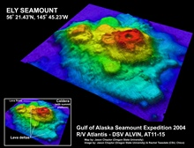 Gulf of Alaska Seamount Expedition. Multibeam image of Ely Seamount showing adeep caldera and lava flows.