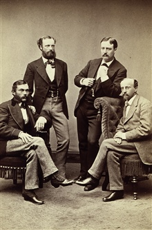 Sitting - Louis Sengteller (l) and unknown.Standing - E. F. Dickins (l) and Benjamin A. Colonna (r).