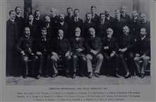 Officers of the Coast and Geodetic Survey.Superintendent Thomas Corwin Mendenhall sitting in center.Superintendent flanked by George Davidson (r) and Charles Schott (l).