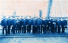 Officers of the Coast and Geodetic Survey Steamer PATHFINDER at Dutch Harbor,Unalaska, during the summer of 1901.  Captain John J. Gilbert is standing in thefront row center with white beard.  Most of these men received the surprise oftheir lives lat