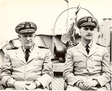 Commander David Whipp on left and Captain Arthur Wardwell on PATHFINDER.