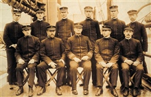 First wardroom of the Coast and Geodetic Survey Ship PATHFINDER , 1899.Note collar insignia with U.S.  This was just after the Navy had left theCoast Survey for good in the Spanish-American war and prior to the formationof a C&GS; commissioned servic