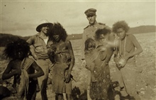 Robert Studds and Francis Gallen with native women in the bush.Off the PATHFINDER