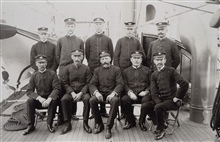 Officers on PATHFINDER on first trip.Captain John Ross in center sitting.