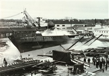 Launching of the DAVID STARR JORDAN at Christy Shipyard.