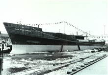 Hull of DAVID STARR JORDAN following launching at Christy Shipyard.