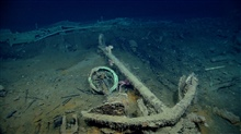 Artifact from Monterrey C shipwreck.  A copper ring and a large lithodid crabbelow an anchor and capstan.