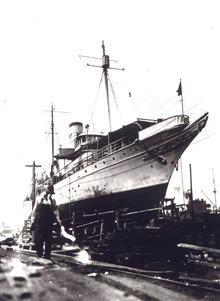 Coast and Geodetic Survey Ship LYDONIA.In service 1919-1947.In shipyard