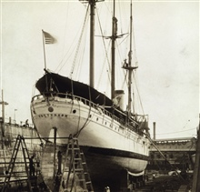 Coast and Geodetic Survey Steamer PATTERSON at Honolulu.In service 1884-1919.Pacific service.Stern view - in drydock.