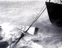 Bow of ALBATROSS III pulling out bollard during hurricane.You might even get seasick while sitting at the dock.
