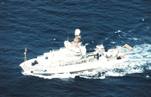 An aerial view of the NOAA Ship RONALD H. BROWN