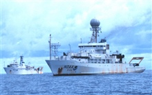 The RONALD H. BROWN meets up with the NOAA Ship KA'IMIMOANA south ofKwajalein Island in the equatorial Pacific duringKWAJEX (RB-99-05).  After months in tropical waters, the BROWN is in need of alittle paint.