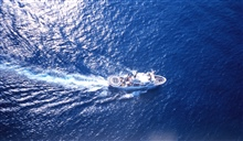 NOAA Ship DAVID STARR JORDAN as seen from MD500 helicopter duringmarine mammal studies in the tropical east Pacific Ocean.