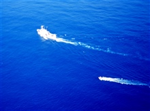 NOAA Ship DAVID STARR JORDAN as seen from MD500 helicopter duringmarine mammal studies in the tropical east Pacific Ocean.  Launch is used asadditional vessel for studying marine mammals.