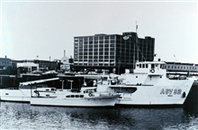 NOAA Ship FERREL with NOAA Launch 1255.  These vessels operated together oncurrent surveys for a number of years.