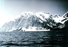 Coast and Geodetic Survey Ship FAIRWEATHER MSS220 at Glacier Bay, Alaska, with Fairweather Range in the background.