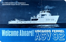 Cover page of Welcome Aboard! pamphlet for Coast and Geodetic Survey ShipFERREL ASV92.