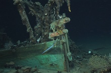 The Green Lantern Wreck, unknown wreck named for lantern artifact.The bobstay fasteners are attached with modern hex nuts.