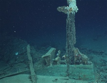 The Green Lantern Wreck, unknown wreck named for lantern artifact.The rudder is still intact and the attachment to the sternpost is visible.