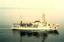 NOAA Ship RAINIER right after going from brown stack to blue and white stack.