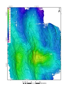 Multibeam 50m grid of the area around Mount Dent collected by the EM302.  Thisand the backscatter image, although generated from the same data file, providevery different information about the same area of the seafloor.