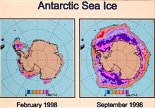Antarctic sea ice cover in February 1998 and September 1998.  Graphic derivedspecial sensor Microwave Imager satellite data.