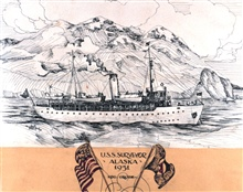 The old SURVEYOR in Alaska in 1931.  Ink sketch by _ Bean.