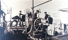 Sigsbee sounding machine in operation on the Coast and Geodetic Survey Ship BACHE during the oceanographic cruise of 1914.  This was a joint C&GS; / FishCommission expedition in the western Atlantic.