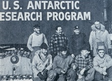 McMurdo Station to South Pole Station traverse crew.  Ardo Meyer, magneticobserver and navigator was second from left in back row.
