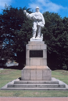Statue of Antarctic explorer Robert Falcon Scott along the Avon River in Christchurch, New Zealand.