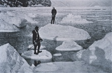 Campbell and Priestley afloat on pancake ice.In:  Scott's Last Expedition ...., 1913.  Dodd, Mead, and Company.  New York.Volume II.  Page 66.  Library Call No. G850 1910 .S35 1913 .