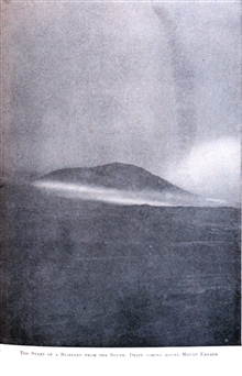 The Start of a Blizzard from the South; Drift Coming around Mount Erebus. In:  The Heart of the Antarctic, Volume II, by E. H. Shackleton, 1909. P. 80.Library Call Number G149 S52.