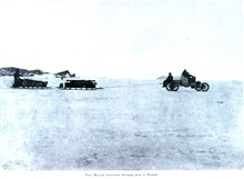 The Motor Hauling Stores for a Depot. In:  The Heart of the Antarctic, Volume II, by E. H. Shackleton, 1909. P. 86.Library Call Number G149 S52.