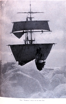 The Nimrod Held Up in the Ice. In: The Heart of the Antarctic, Volume II, by E. H. Shackleton, 1909. P. 214.Library Call Number G149 S52.