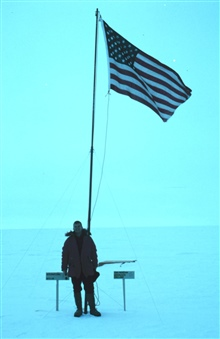 United States flag marks the geographic South Pole.