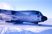 The last plane at South Pole Station before the fall sunset