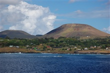 Rapa Nui (Easter Island) as seen from offshore.