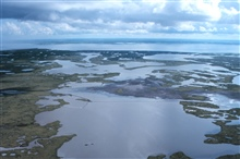 An aerial view of the created wetlands in the containment area.