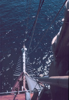 Looking down from the mast of the WESTWARD to the bowsprit