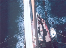 A view of the deck of the WESTWARD while under sail.