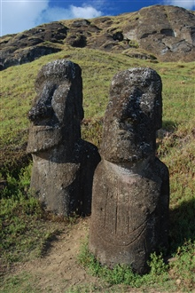 Best friends staying together forever.  Moai at the Rano Raraku quarry.
