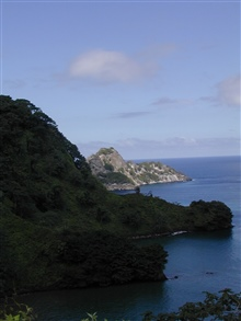 A view of a cove as seen from a hillside on Isla Cocos.
