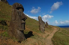 Trail by the moai at Rano Raraku.
