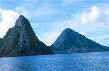 The Pitons from offshore