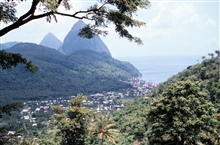 The Pitons from a land view