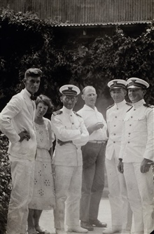 L to R - Mate R. P. Bush, Mrs. Bush, Captain H. A. Cotton, Mate William Weidlich. Roland Horne and unknown